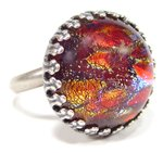 Ring cabochon red fireopal